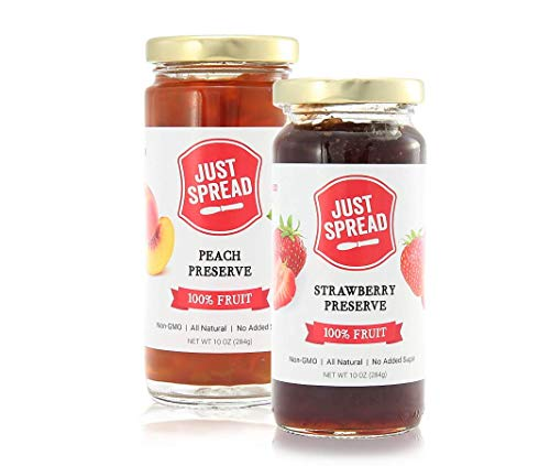 - Just Spread - 100% Fruit Preserves Variety 4-Pack (Strawberry & Peach)