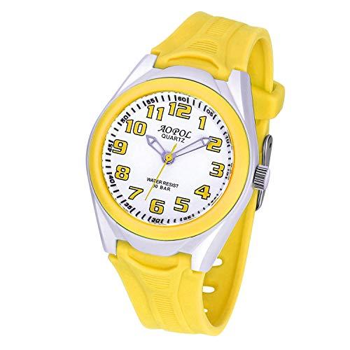 Children Analog Watch Waterproof Time Teaching Boys Girls Watch Soft Band Wrist Watch for Kids Yellow