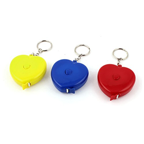 1.5M Heart Shaped Keyring Measuring Tape Ruler Yellow Red Blue -
