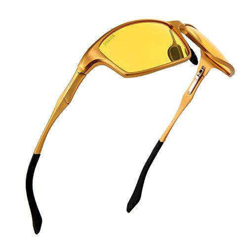 HOT Fashion Premium Night Driving Glasses Polarized Anti-glare Rain Day Men Women Sport Sunglasses by Soxick(black gold oval - Men Hot For Glasses