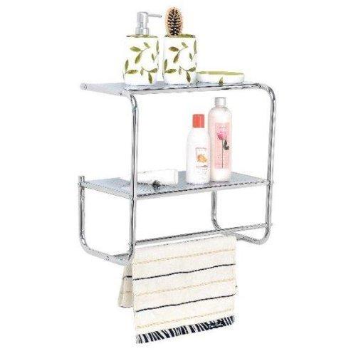 2 Shelves Bathroom Wall Rack With 2 Towel Holder Rails Metal Chrome Plated Shelf Fancy