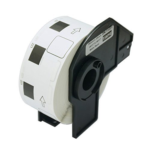10 Rolls Brother-Compatible DK-1221 23mm x 23mm(10/11'' X 10/11'') 10000 Square Paper Labels With Refillable Cartridge by BETCKEY (Image #1)