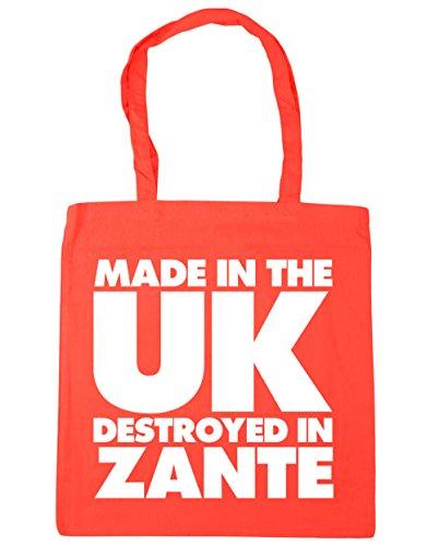 HippoWarehouse hergestellt in Großbritannien Zerstört in Zakynthos Einkaufstasche Fitnessstudio Strandtasche 42cm x38cm, 10 liter - Koralle, One size