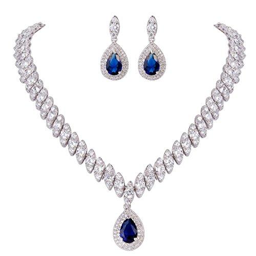 Marquise Leaf - EVER FAITH Women's CZ Marquise-Shaped Leaf Teardrop Pendant Necklace Earrings Set Blue Silver-Tone