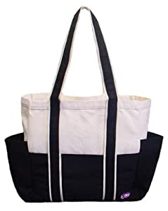 100% Cotton Canvas Shoulder Tote w/ Multiple Pockets, Black, IMPROVED!