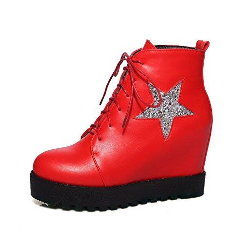 AgooLar Damen Hoher Absatz Niedrig-Spitze Gemischte Farbe Schnüren Stiefel  Rot ...
