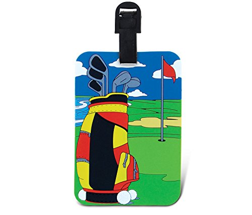 Puzzled Golf Themed Luggage Identification Tag - Personalized Suitcase Accessories 5 Inch Sports Theme BagTags - Write On Tags With Insert And Straps Pvc Kids Adults Travel Id Label - Item 3956 (Theme Luggage Tag)