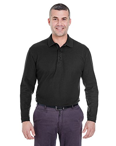 (Ultraclub Mens Long-Sleeve Whisper Pique Polo 8542 -Black 6XL)