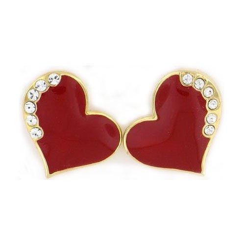 Red Epoxy Heart Clip on Earrings