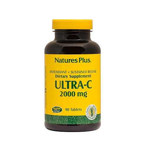 Natures Plus Ultra C with Rose Hips - 2000 mg, 90 Vegetarian Tablets, Sustained Release - Maximum Potency Immune Support Supplement, Antioxidant - Gluten Free - 90 Servings