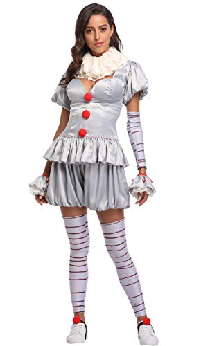Quintion Anneao Womens Halloween Clown Cosplay Costumes Pennywise Costplay Outfit -