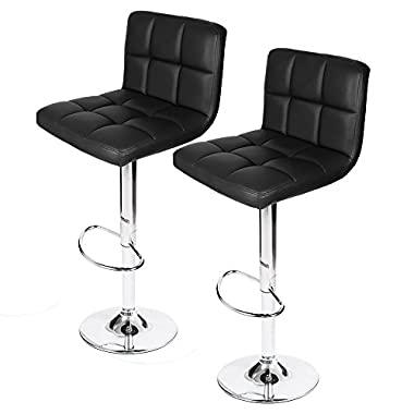 Homall Swivel Black Bonded Leather Barstool Adjustable Hydraulic Bar Stool, Set of 2