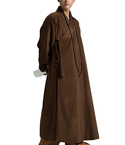 Katuo Dark Coffee Winter Wool Meditation Robe Monk Outfit Zen Buddhist Men Robe (XXL) -
