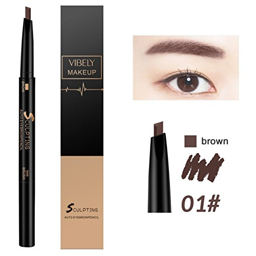 Brow Definer Automatic Brow Pencil - Automatic Eyebrow Pencil with Brow Brush, Eyebrow Definer Pencil, Eye Brow Makeup, Waterproof Smudge Proof, Last for All Day Long