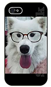 iPhone 5C Hipster white dog and glasses - black plastic case / dog, animals, dogs