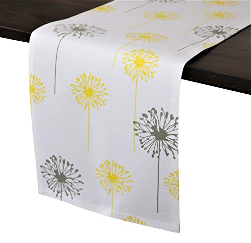 Crabtree Collection Deluxe Cotton Table Runners, Bright Colors for Kitchens and Dining Rooms - (Yellow/Gray Dandelion 12x72 Runner)