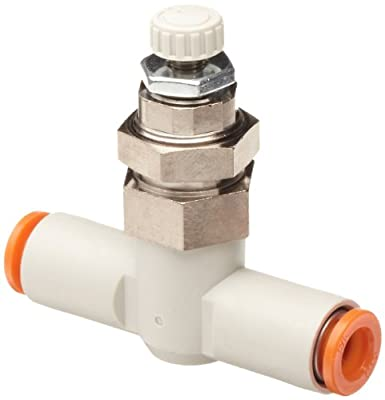 """SMC AS2001F-06-3 Air Flow Control Valve with Push-to-Connect Fitting, PBT & Nickel Plated Brass, In-Line, Body Size 1/8"""", 6 mm Tube OD x 6 mm Tube OD from SMC"""