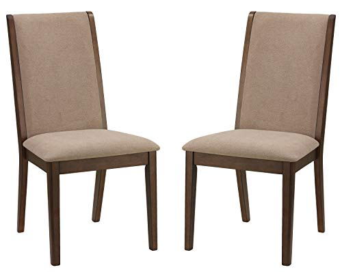 Cortesi Home CH-DC800933 Kendall Dining Side Chairs in Walnut Color Set of 2 Truffle Taupe Fabric