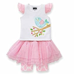 Mud Pie Baby-Girls Newborn Little Chick Skirt Set, Pink/White, 0-6 Months