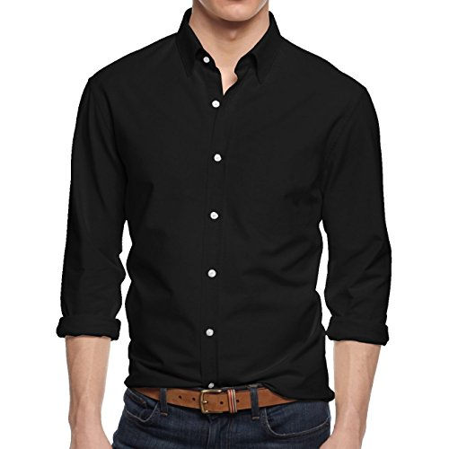 HB Men's Slim Fit Button Down Casual Long Sleeve Dress Shirt  - Large / 16-16.5 - Black (Business Casual Hat)
