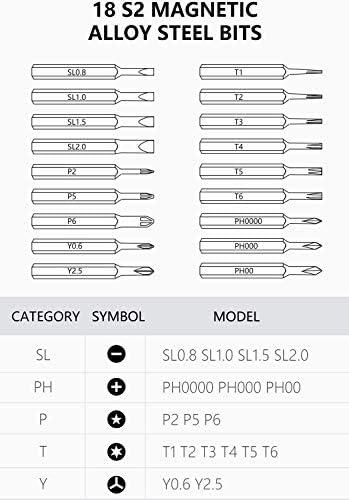 電気精密スクリュードライバーセット Bluetooth 接続アプリ設定制御充電式リチウム電池電話カメラコンピュータとその他の小さなデバイスの修理のための18ビット