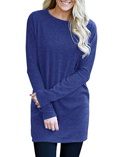 Kinikiss Women's Long Sleeve Solid Color Cotton Blend Mid Long Section Top Casual Loose Round Neck