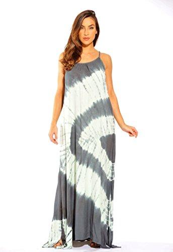 (Riviera Sun 21614-GM-XL Summer Dresses/Maxi Dress/Sundresses for Women Grey/Mint)