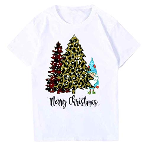 QIQIU Womens Christmas Casual Short Sleeve Xmas Trees Print Fashion Round Neck Solid T-Shirt Tops Blouses White (Burnt Christmas Tree Down)