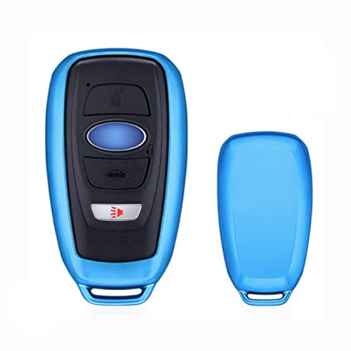 Ontto Auto Smart Remote Key Fob Skin Key Cover Holder Jacket Protector for Subaru XV Crosstrek Forester Outback Legacy BRZ Blue