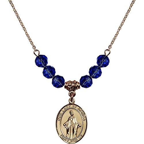 18-Inch Hamilton Gold Plated Necklace with 6mm Blue September Birth Month Stone Beads and Our Lady of Africa Charm by Bonyak Jewelry