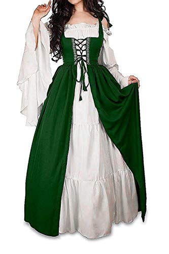 ABaowedding Womens's Medieval Renaissance Costume Cosplay Chemise and Over Dress (L/XL, Hunter Green)