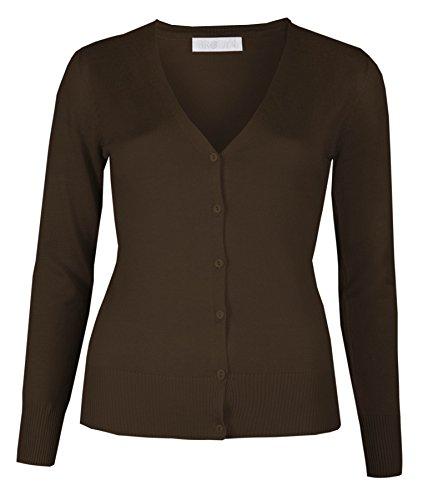 Brody & Co  Winter Cardi - Rebeca para mujer con botones, cuello de pico, punto fino, color liso marrón