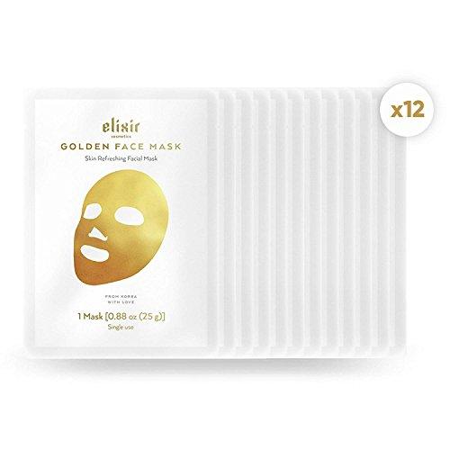 Elixir Gold Korean Face Mask | Collagen & Anti Aging Wrinkle Treatment | Luxury Peel Off Moisturizing Facial Sheet (12 Pack)
