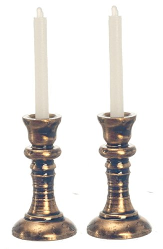 Price comparison product image Dollhouse Miniature Set of Copper Candlesticks with Candles