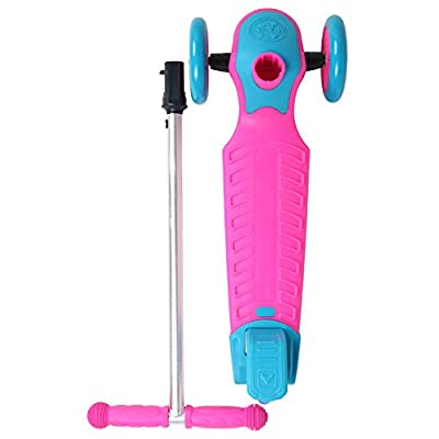 Maui & Sons Kids 3-Wheeled Scooter with Sturdy Handlebars and Working Brake (Pink/Blue) : Sports & Outdoors