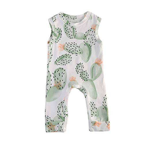 CQHY MALL Cute Newborn Unisex-Baby Cactus Print Romper Sleeveless Jumpsuit Romper Girls Boys Bodysuits Summer Snapsuit,0-3Y (12-24 Months, White-b)