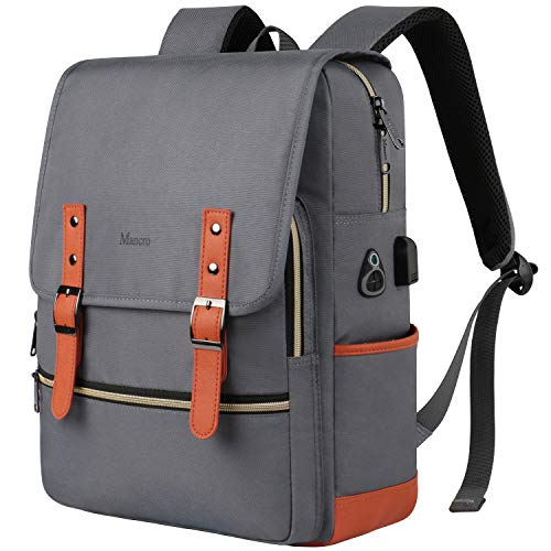 School Backpack,College Laptop Backpacks Anti Theft for Women Men with USB Charging Port,Waterproof Slim Business Travel Computer Bag Fits 15.6 Inch Laptop and Notebook,Grey from Mancro
