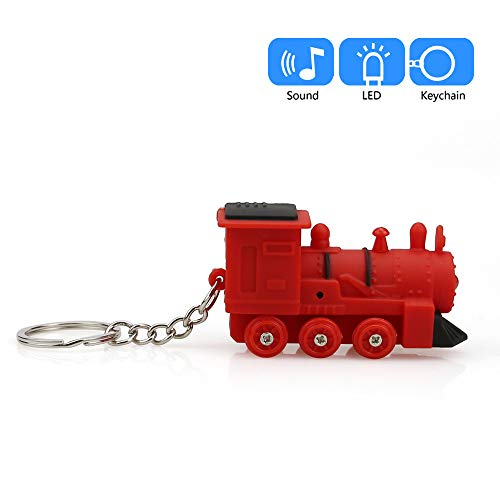 (Livoty Cute Train Keychain with LED Light and Sound Keyfob Kids Toy Key Ring Gift (Red))