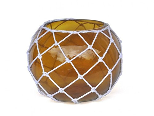 - Hampton Nautical Bowl-10-A-N Amber Japanese Glass Fishing Float Bowl with Decorative White Fish Netting 10