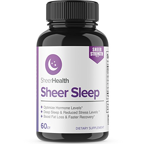 Extra Strength Natural Sleep Aid Formula - Non Habit Forming Sleeping Pills with Melatonin, Valerian Root, GABA, and Lemon Balm Extract - Herbal Supplement - 60 Veggie Caps - Sheer Strength Labs
