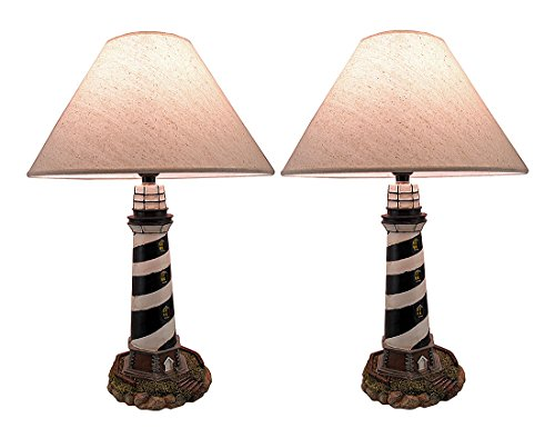 Cape Hatteras Black and White Striped Lighthouse Lamp Set of 2 ()