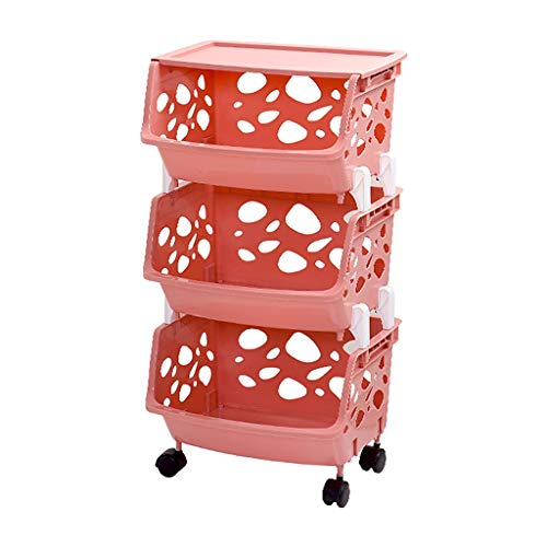 Amazon.com - ZSH-stc 4 Tier Storage Stacking Basket Multi-Function Plastic Fruit Vegetable Storage Shelf with Storage Box for Kitchen Bathroom (Color : D, ...