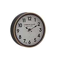 Deco 79 52583 Wall Clock, White/Oak Brown/Black/Red/Brass