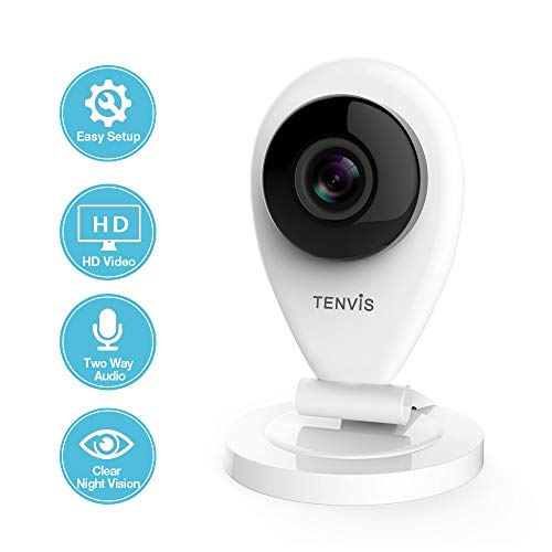 TENVIS Wireless IP Camera - Indoor Security Camera Night Vision, Two-Way Audio, Motion Detection, Instant Alert, Home Surveillance System SD Card Slot, 720P Baby/Pet/Nanny Monitor