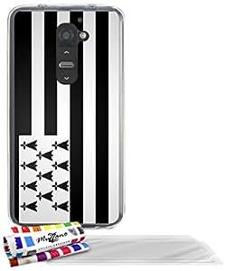 """Carcasa Flexible Ultra-Slim LG G2 de exclusivo motivo [Bandera Breton] [Transparente] de MUZZANO  + 3 Pelliculas de Pantalla """"UltraClear"""" + ESTILETE y PAÑO MUZZANO REGALADOS - La Protección Antigolpes ULTIMA, ELEGANTE Y DURADERA para su LG G2"""