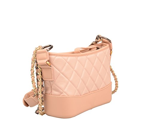 Crossbody Chain Pink With Leather Women's Strap Bag Purse Genuine Quilted Phone Cell Wallet Ainifeel UIxqPOgP