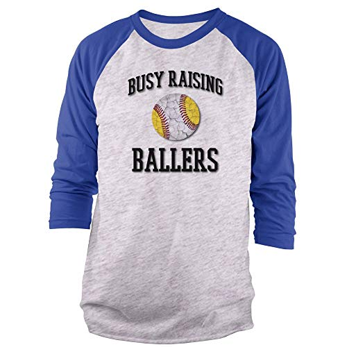 Vine Fresh Tees - Busy Raising Ballers 3/4 Sleeve Raglan T-Shirt - Medium, Ash w/Royal