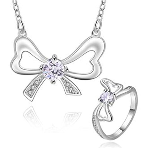 AMDXD Jewelry Silver Plated Women Jewelry Sets Bowknot White CZ Necklace Rings Size -
