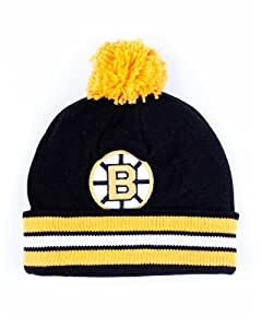 Mens Mitchell and Ness Striped Cuff Knit Beanie with Pom