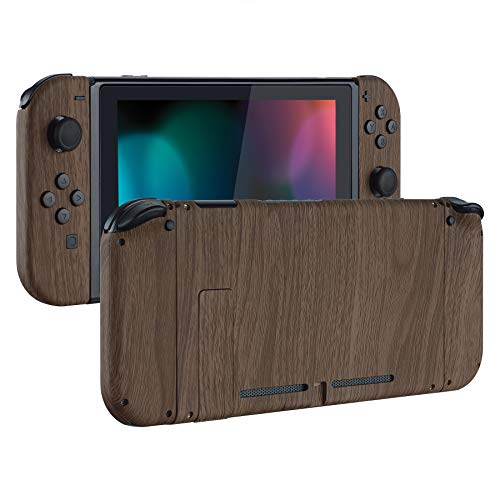 eXtremeRate Soft Touch Grip Back Plate for Nintendo Switch Console, NS Joycon Handheld Controller Housing with Full Set Buttons, DIY Replacement Shell for Nintendo Switch - Wood Grain